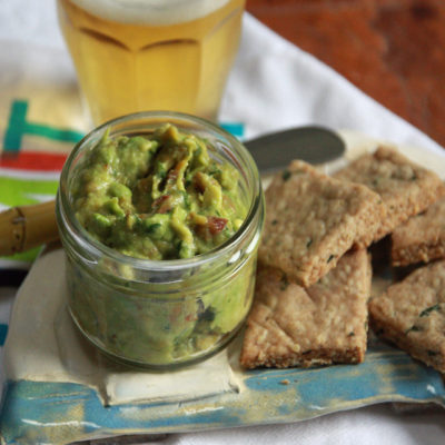 #GuacSquad12: Roasted Peach Guacamole with homemade crackers